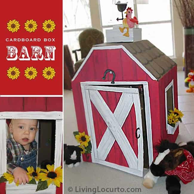 DIY Cardboard Box Barn for a Barnyard Farm Themed Birthday Party. Super cute play house idea for kids! by Amy Locurto at LivingLocurto.com
