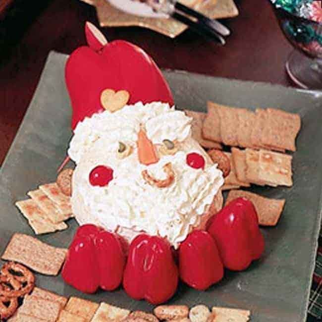 Santa Cheese Ball Recipe. An adorable Christmas Party Appetizer Idea!