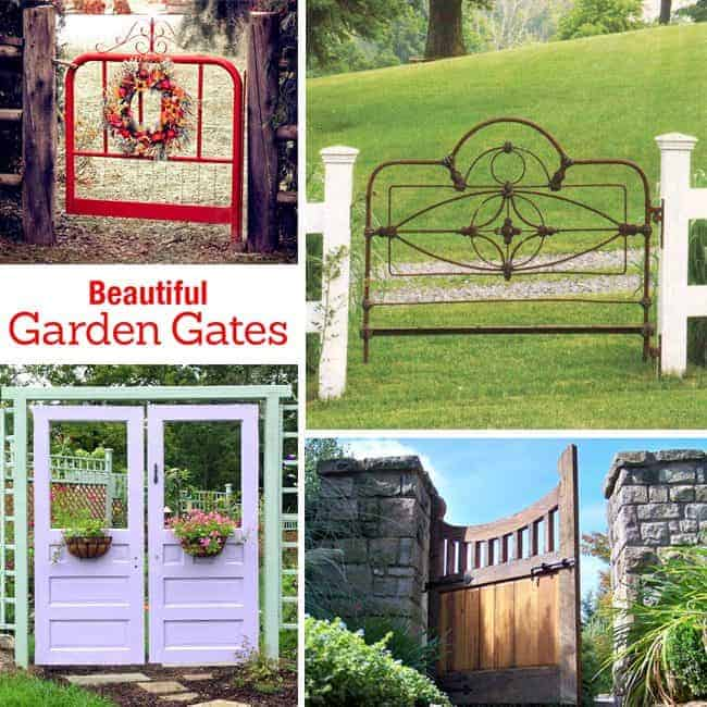 Beautiful backyard garden inspiration for your home! Creative gates for a gorgeous entryway into a yard or flower garden. Lovely tour of homes. LivingLocurto.com