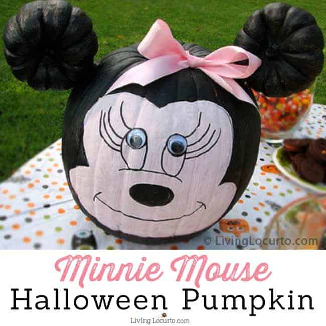 How to make a Minnie Mouse Halloween Pumpkin! This simple pumpkin painting craft is easy for kids and makes a great Disney or Halloween party activity. LivingLocurto.com