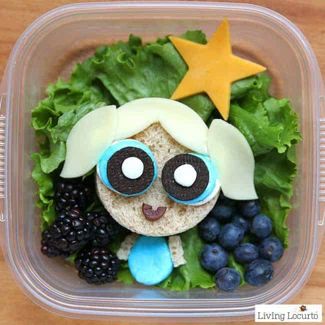 The Powerpuff Girls sandwiches are a cute superhero school lunch! Make sandwich art for kids that's full of sugar, spice, and everything nice.