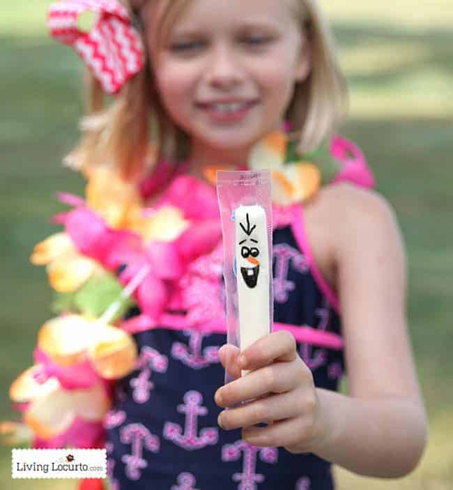 Disney Frozen Summer Birthday Party Ideas! Olaf cheese sticks. Disney's Olaf finally gets to enjoy the beach at a Luau. Fun food ideas, cupcakes, printables and games for the beach or a pool party. LivingLocurto.com