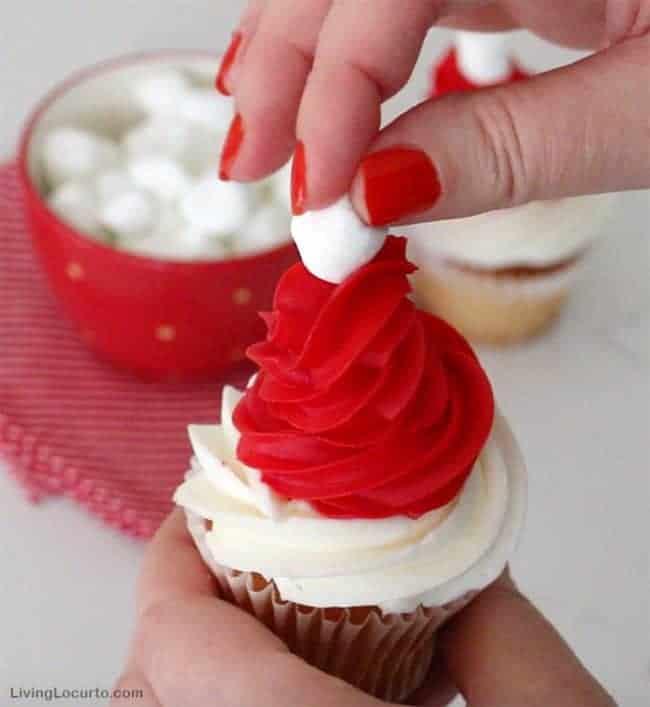 Minions Christmas cupcakes - Cute Santa hat cupcakes
