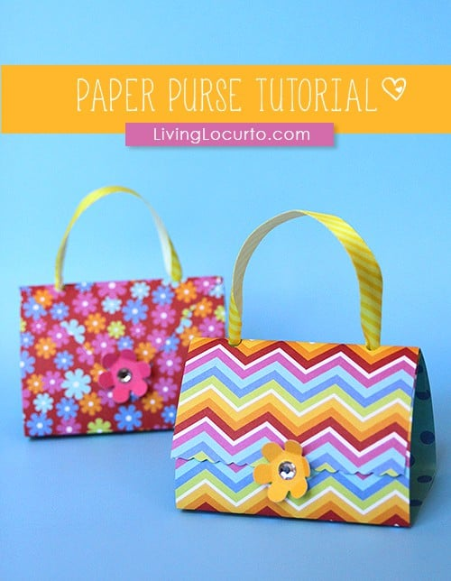 Paper Purse Party Favors - Paper Craft Tutorial. How to make a simple paper purse! An easy paper craft idea for a party favor, DIY gift or kids simple birthday party activity.