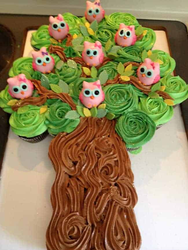 Owl Cake! Best Birthday Pull Apart Cupcake Cakes. Simple creative cake inspiration for a birthday party celebration.