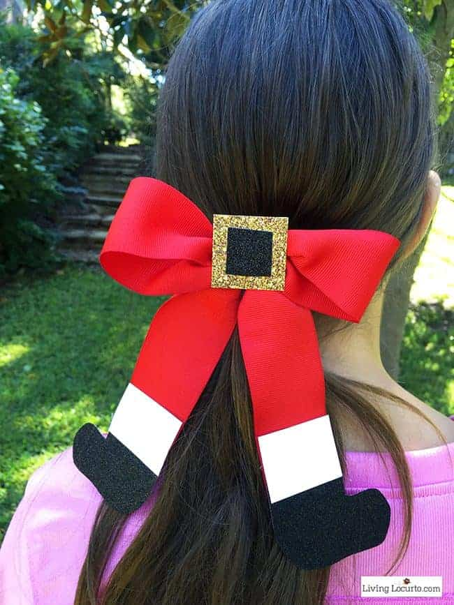 How to Make a Santa Bow for a little girl's hair. Cute Holiday Hairstyle for girls.