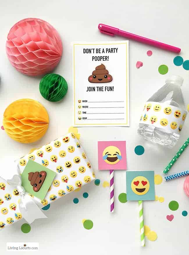 Fun Emoji Party Ideas! Colorful Free Birthday Party Printables perfect for any Emoji Fan.
