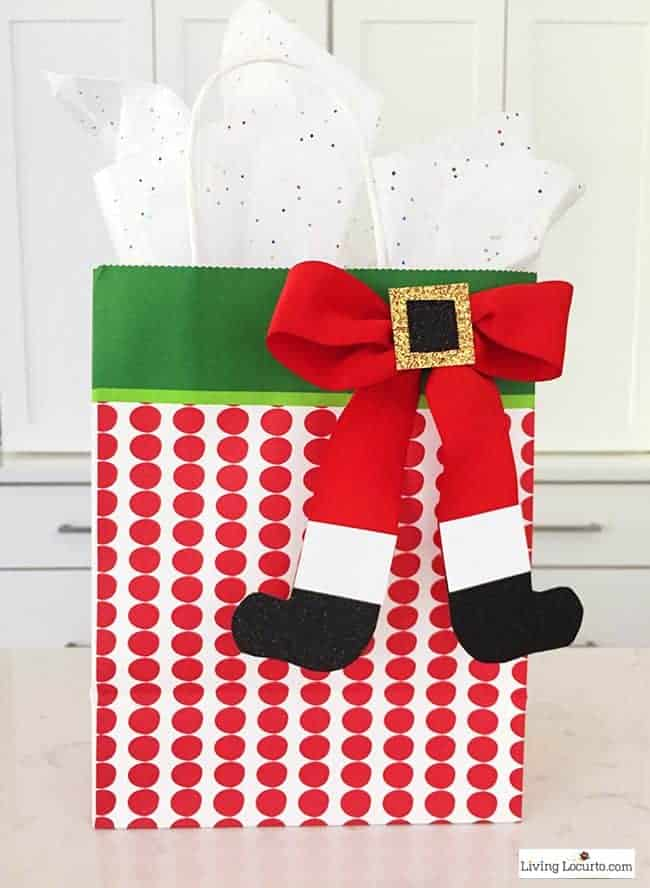 How to Make a Santa Bow! This simple craft adds a special touch to any Christmas presentor little girl's hair!