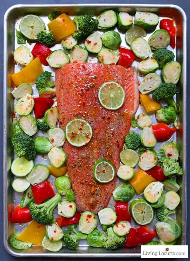 Sheet Pan Salmon dinner recipe! Sambal chili lime salmon with Brussels sprouts, broccoli and peppers is an easy low carb dinner packed with flavor.