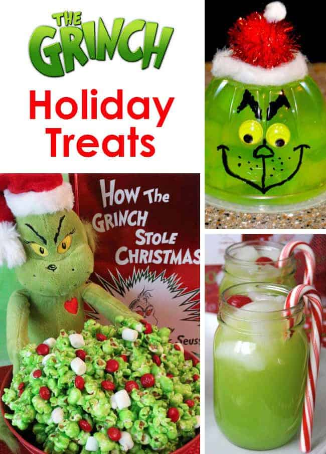 The Grinch Christmas Treats! Adorable fun food ideas for your next Holiday party. Grinch cakes, popcorn, cocktails and school snacks.