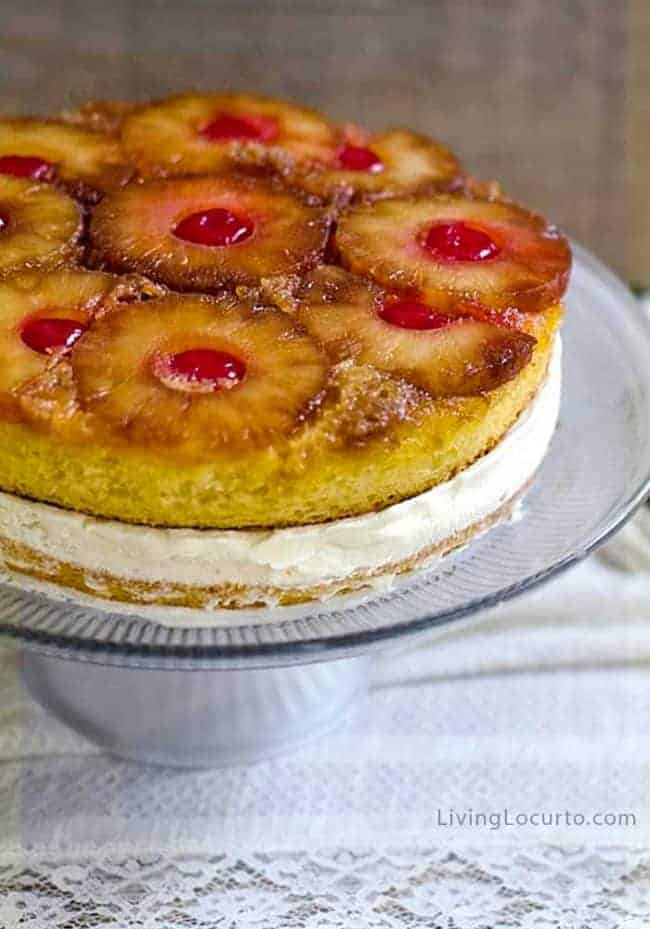 An easy homemade Pineapple Upside Down Cake recipe turned into an ice cream cake. This classic cake combined with vanilla ice cream makes the perfect summer ice box cake.