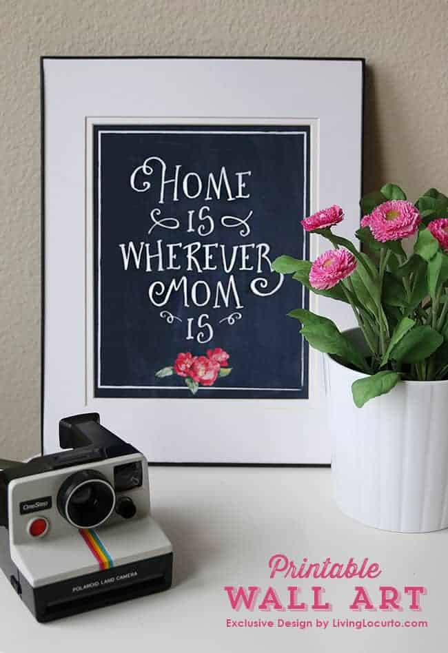 Home is Wherever Mom Is. Printable Mother's Day Gift Wall Art by LivingLocurto.com