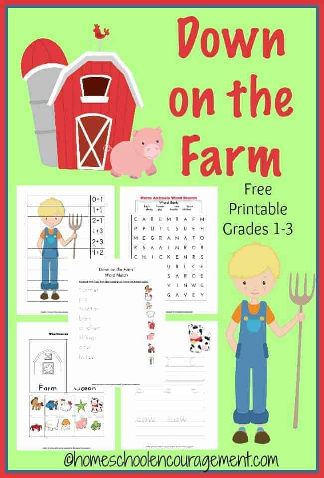 Looking for a fun way to teach your kids, grades 1 - 3, about life on the farm?  This printable pack has free worksheets, a list of farm books about the barnyard, and fun learning activities associated with life on the farm.