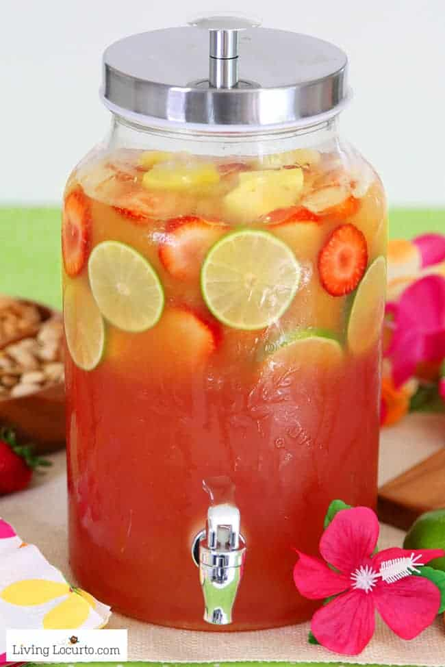 Tropical Rum Punch Recipe. A fun pool party or luau cocktail drink!
