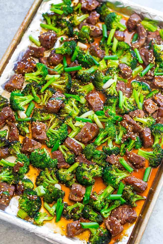 Beef with broccoli in a sheet pan
