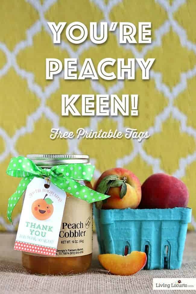 You're Peachy Keen! Free Printable Thank You Gift Tags! Teacher Appreciation Gift Ideas