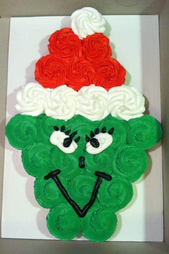 The Grinch Pull Apart Cupcake Cake - The Grinch Christmas Treats! Adorable fun food ideas for your next Holiday party. Grinch cakes, popcorn, cocktails and school snacks.
