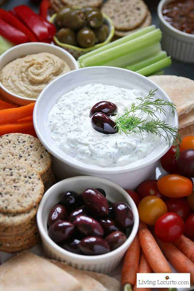 Traditional Greek Tzatziki sauce recipe and fresh vegetable tray platter. Low Carb Dip