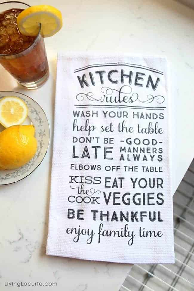 Wayfair Funny Kitchen Dish Towel - Before and After White Kitchen Photos. LivingLocurto.com