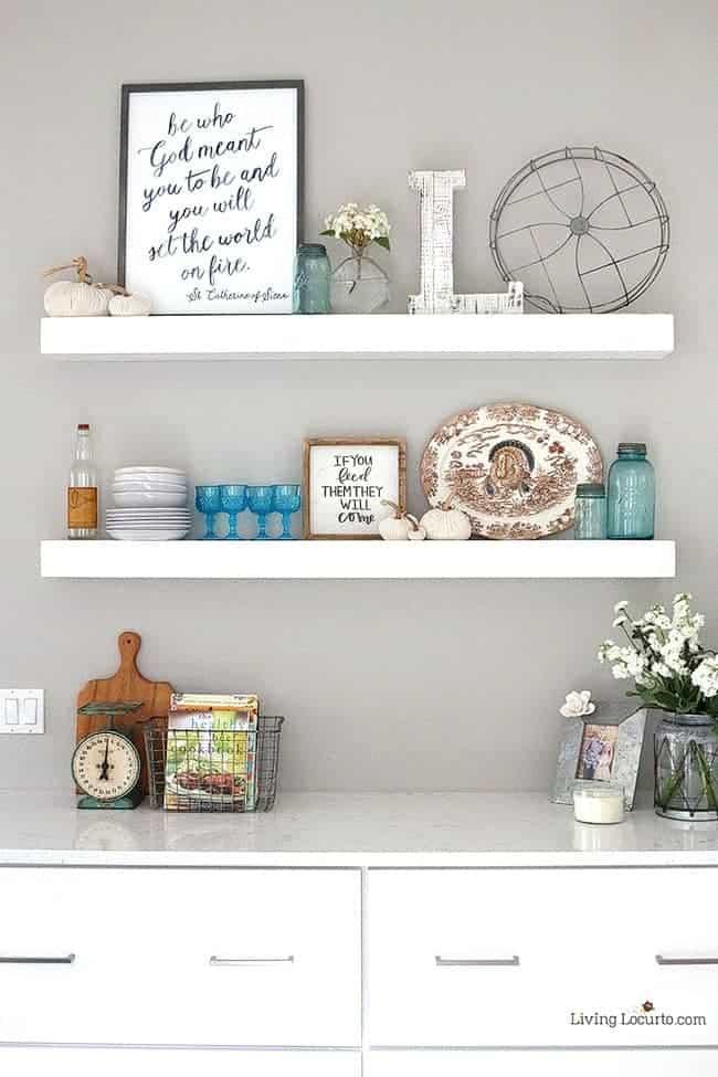 10 Simple Farmhouse Kitchen Decor Ideas - Floating shelves with vintage decor.