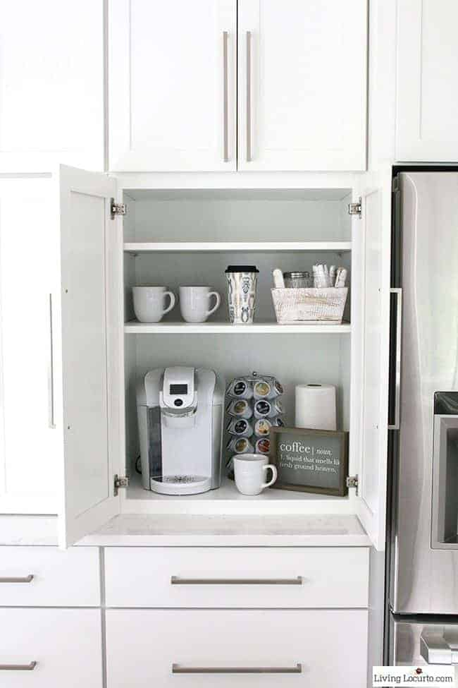 Coffee Bar! The best Kitchen Cabinet Organization Ideas! This Modern Farmhouse White Kitchen is full of clever ways to organize cabinets. Home organizing inspiration.