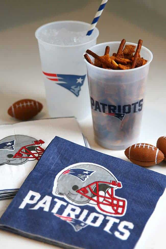 New England Patriots Football Party Cups and Spicy Chex mix recipe
