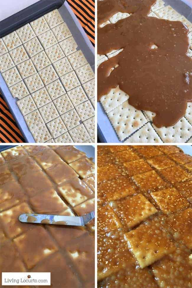 How to make saltine toffee. Easy Halloween Crack recipe with chocolate, candy eyes and Halloween candy.
