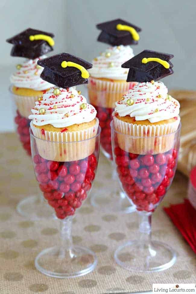 Funfetti Graduation Cupcakes in DIY candy filled cake stands will get an A+ grade at your Graduation Party! #graduation