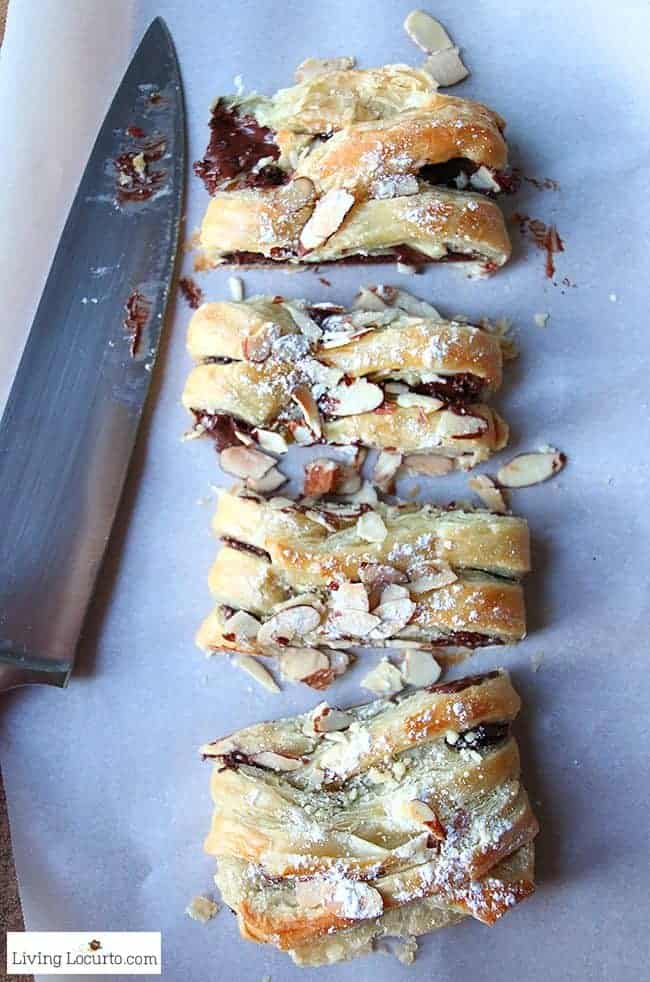 Chocolate Braid Recipe. Easy Puff Pastry Dessert. Warm gooey chocolate baked inside of a tasty crescent puff pastry. Easy almond topped chocolate braid recipe for brunch, breakfast, or school party.