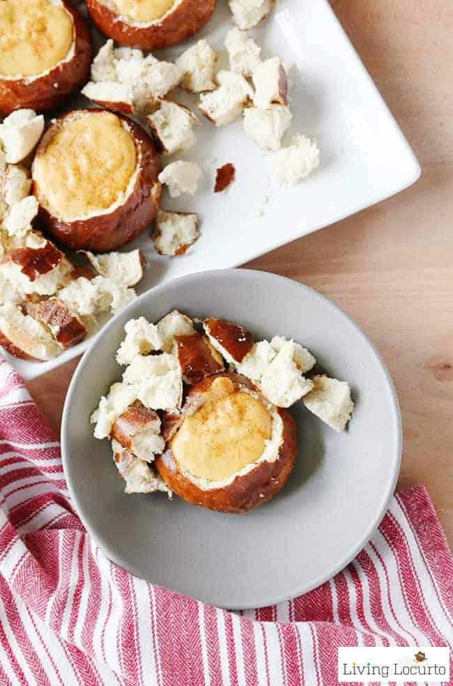 Beer Cheese Dip recipe in individual pretzelbread bowls.