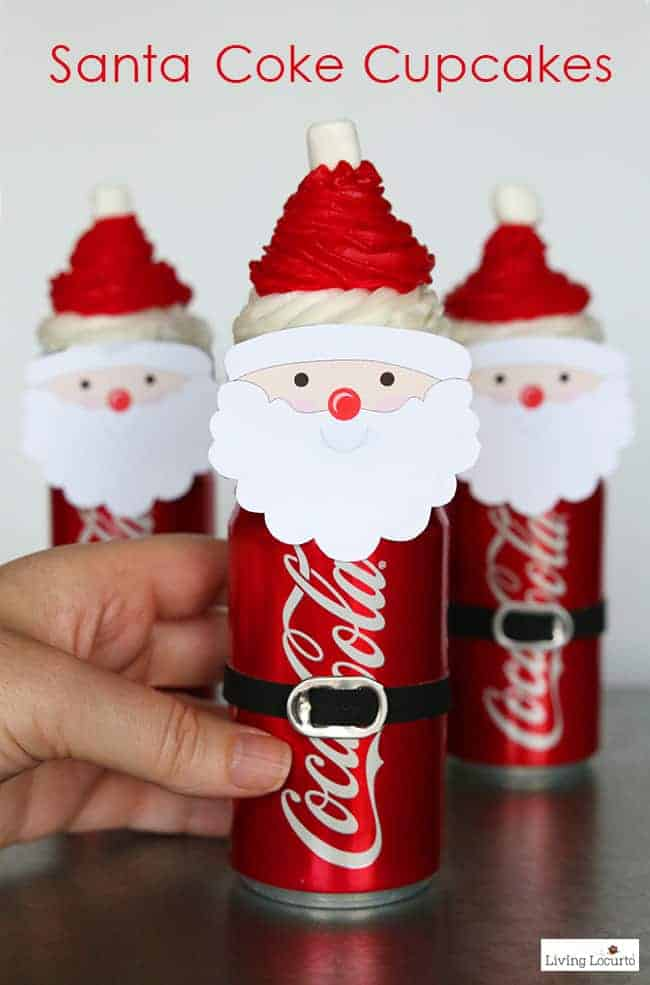 Easy Santa Cupcakes made with Mini Coca-Cola Cans. Chocolate Coke Cupcakes recipe and an adorable Christmas party food craft. Easy holiday dessert idea for kids with free printables. #christmas #santa #cupcakes #recipe