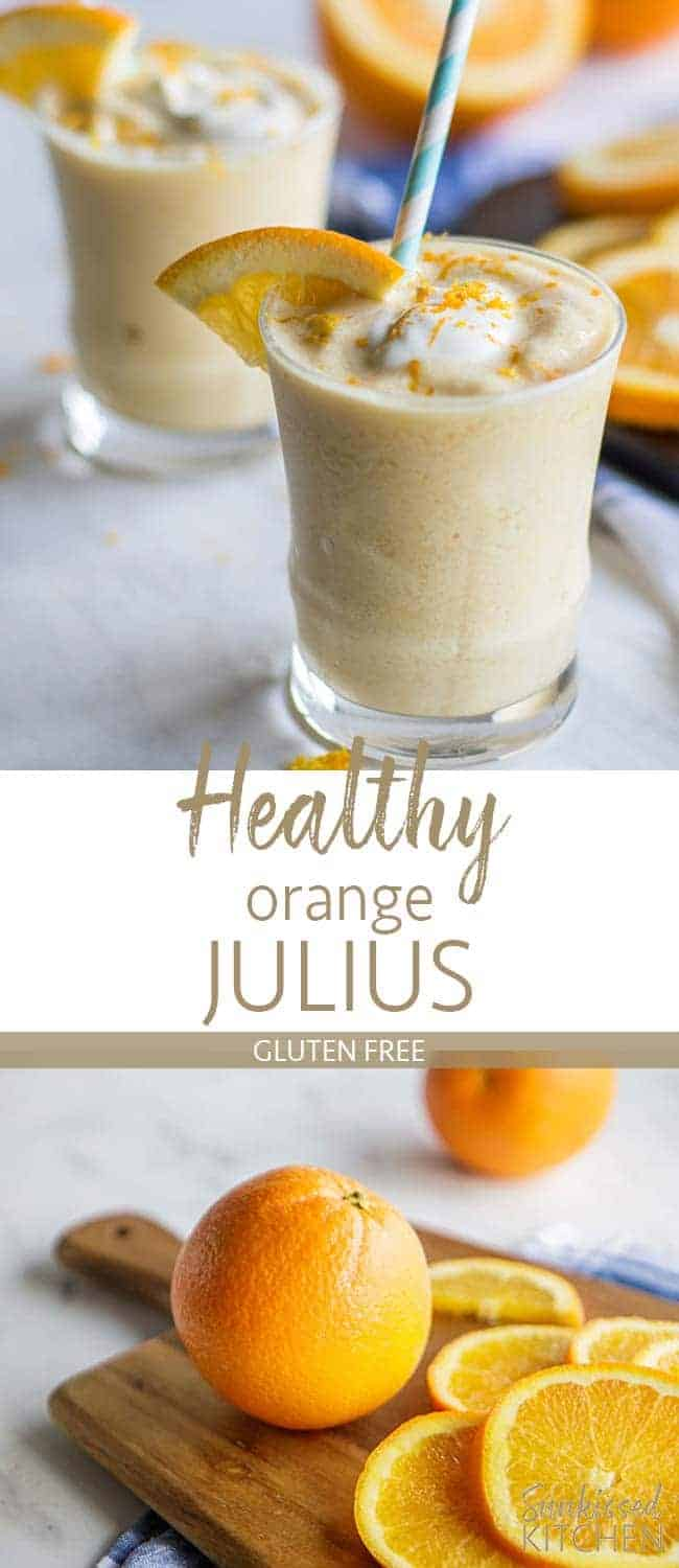 Two images showing healthy orange julius smoothies and fresh oranges being peeled.