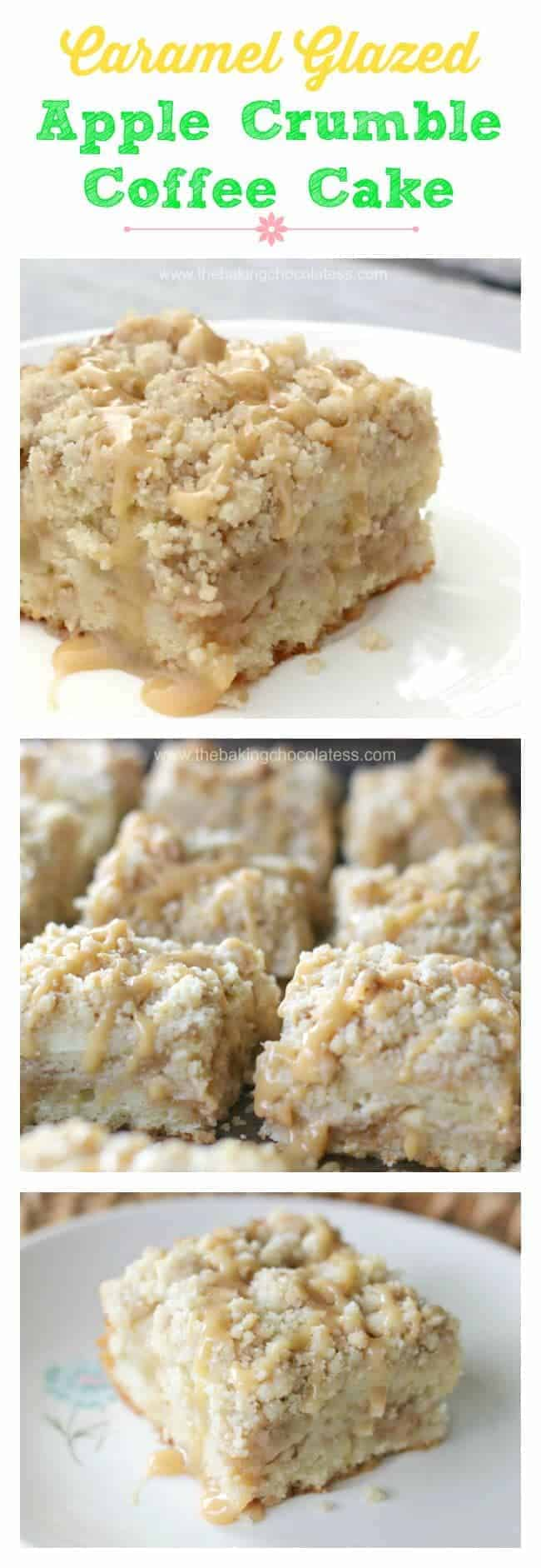 Caramel Glazed Apple Crumble Coffee Cake Bars