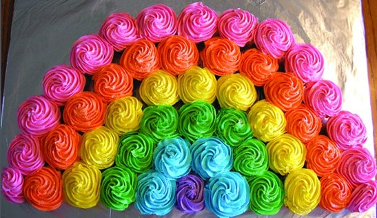 Rainbow Cupcakes - Best Birthday Pull Apart Cupcake Cakes. Simple creative cake inspiration for a birthday party celebration.