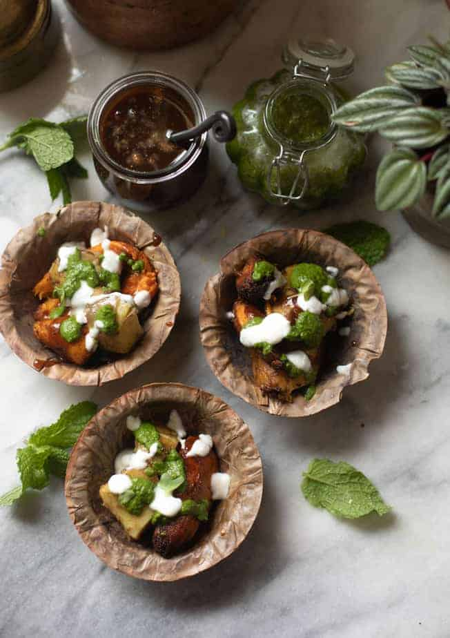 Environment friendly bowls made of dried leaves used as a serving dish for chaat