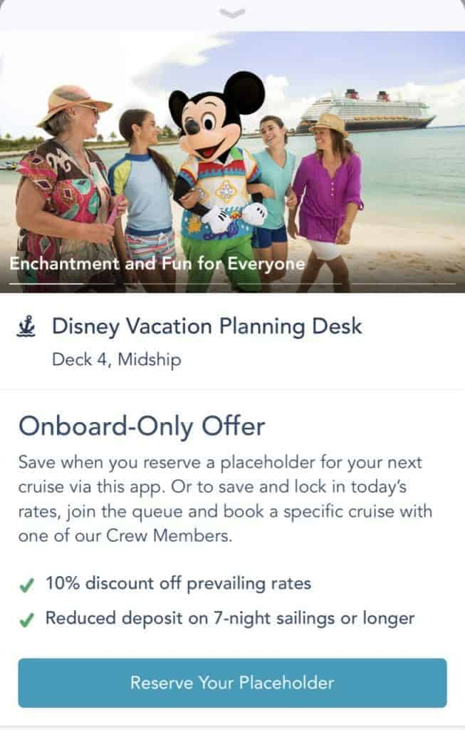 Onboard Booking Offer booking a placeholder on the app