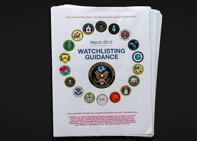 Watchlisting Guidance for suspected terrorists to be added to watchlist: March 2013