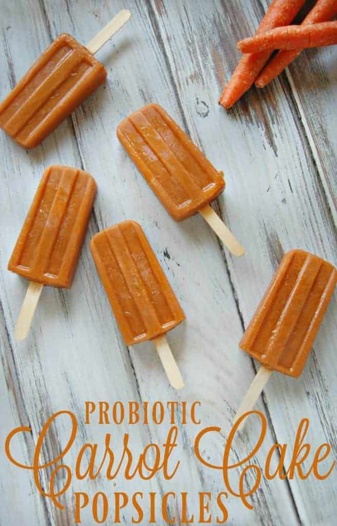 Probiotic Carrot Cake Popsicles - These popsicles might be packed with carrot and full of probiotics but my kids absolutely love them! #carrot #carrotcake #popsicles #healthy #realfood #healthysnack