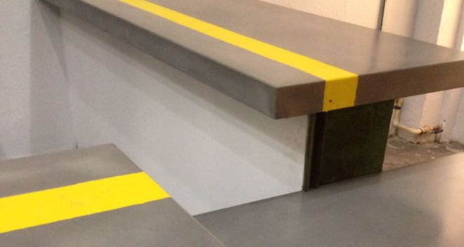 Grey Concrete Countertops with Yellow Stripe in Central Melt Restaurant St Petersburg, FL