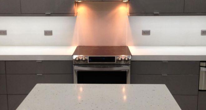 White Concrete Countertops and backsplash for a condo in St Petersburg, FL