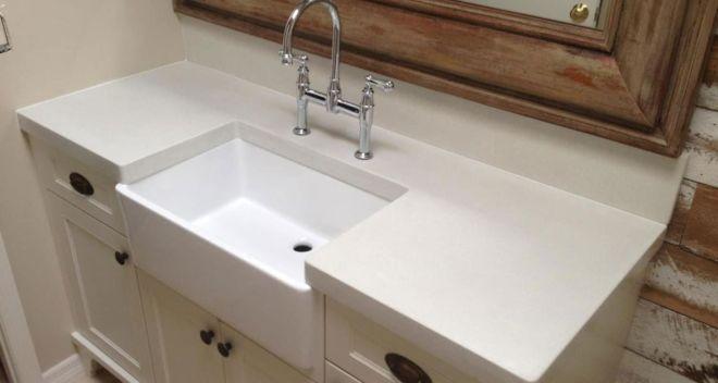 White Concrete Countertop in Rustic Farm Style Bathroom