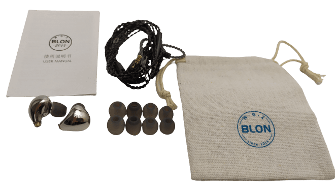 Image shows the included contents of the BLON BL-03 Earphones.