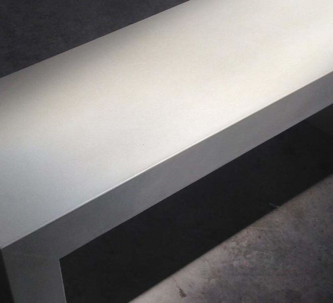 White Concrete Parsons Bench