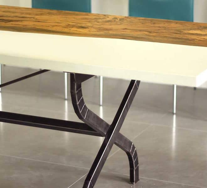 White Concrete and Magnolia Wood Table on a Scissor Style Steel Base