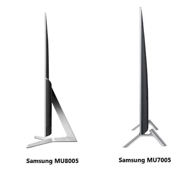 Diseño lateral Samsung MU8005 y MU7005