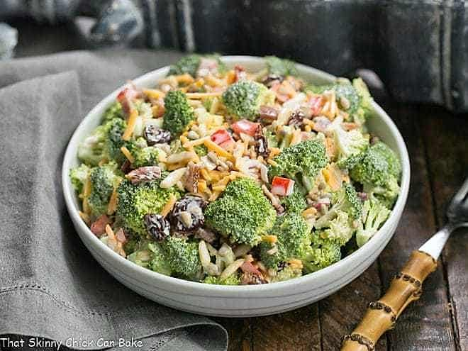 Broccoli Salad with Bacon in a white bowl
