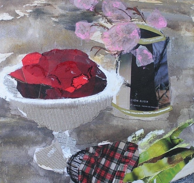 Still Life. Mixed media: collage, painting, pastel. Courses in Barcelona
