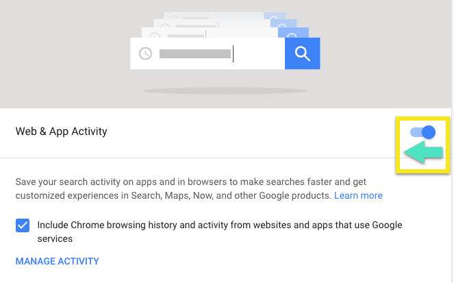 """Google's Web & Activity screen, highlighting how to slide the toggle to """"paused."""""""