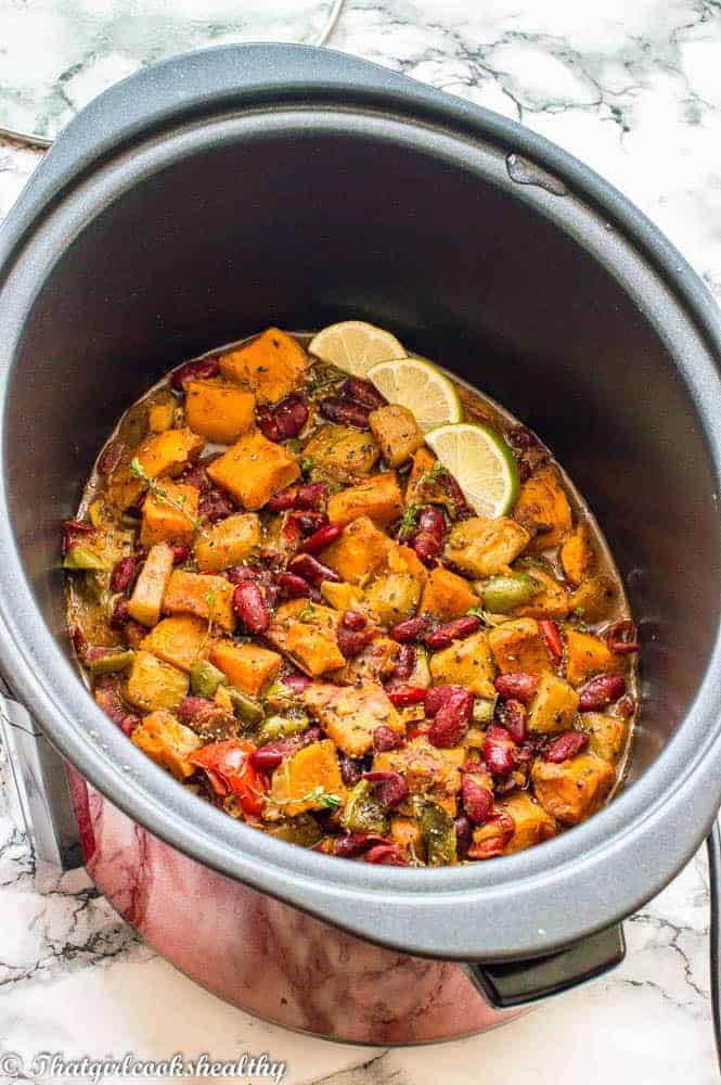 Caribbean potato curry in a slow cooker