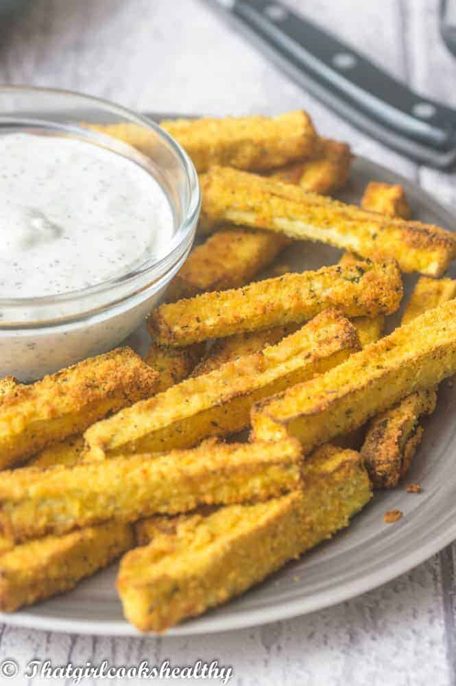 A close up of air fryer zucchini fries